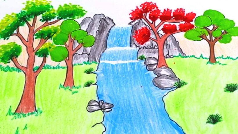 Vẽ tranh thác nước chảy bằng sáp màu đẹp