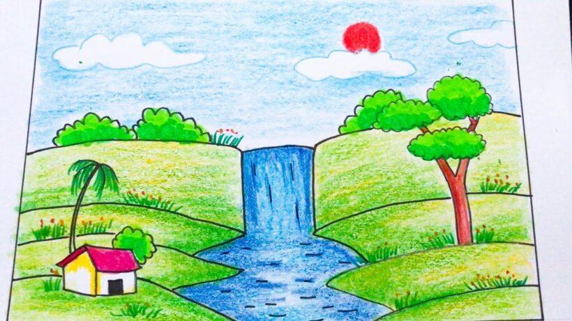 Vẽ tranh thác nước đơn giản đẹp