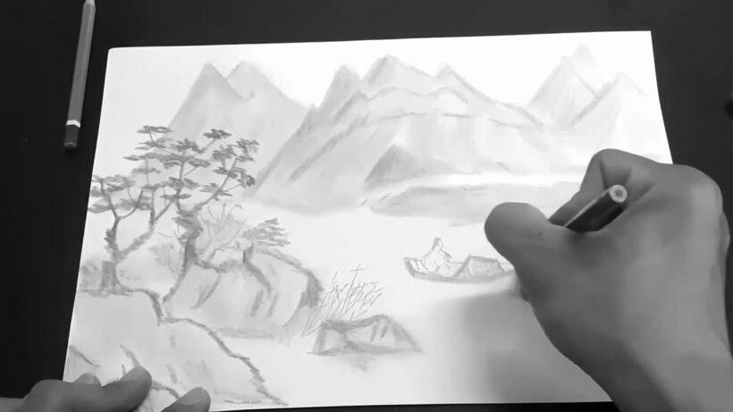 Vẽ tranh thuỷ mặc bằng bút chì