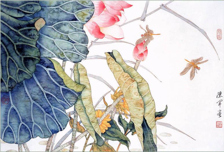 Vẽ tranh thuỷ mặc hoa sen đẹp