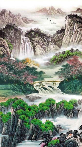 Vẽ tranh thuỷ mặc phong cảnh mùa xuân