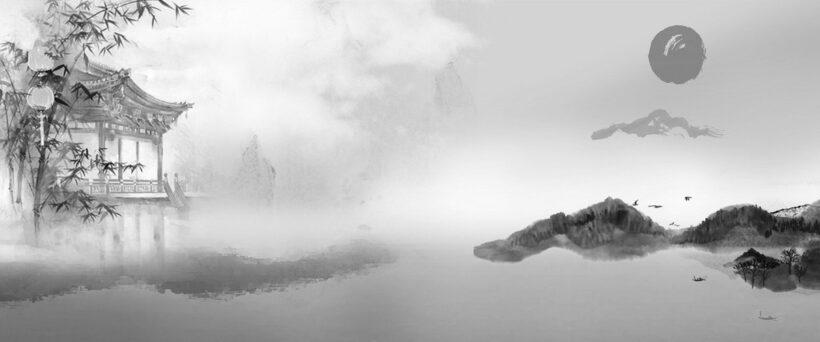 Vẽ tranh thuỷ mặc sông núi đẹp