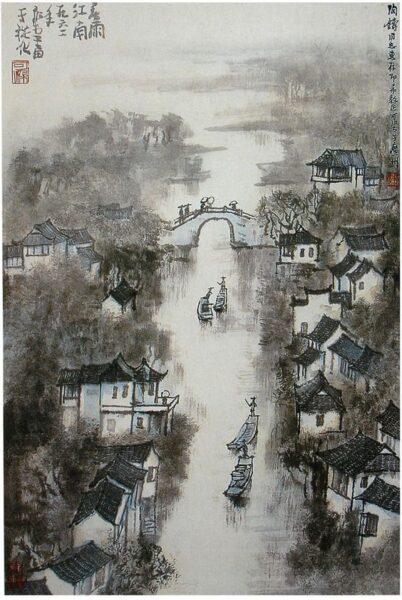 Vẽ tranh thuỷ mặc sông nước đẹp