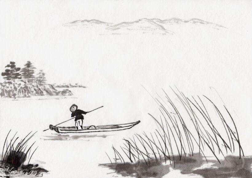 Vẽ tranh thuỷ mặc sông nước đơn giản