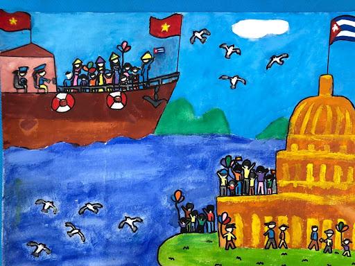 Vẽ tranh tình hữu nghị Việt Nam - Cuba anh em