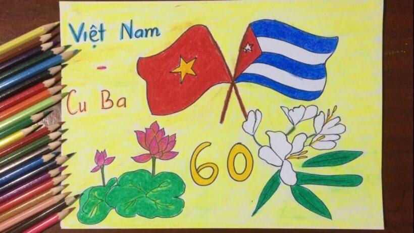 Vẽ tranh tình hữu nghị Việt Nam - Cuba đẹp nhất