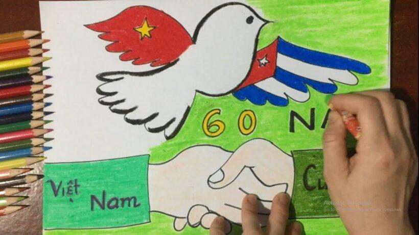 Vẽ tranh tình hữu nghị Việt Nam - Cuba đoàn kết