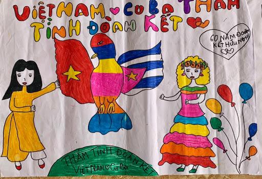 Vẽ tranh tình hữu nghị Việt Nam - Cuba đơn giản, ý nghĩa