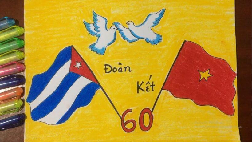 Vẽ tranh tình hữu nghị Việt Nam - Cuba thắm tình đoàn kết đơn giản