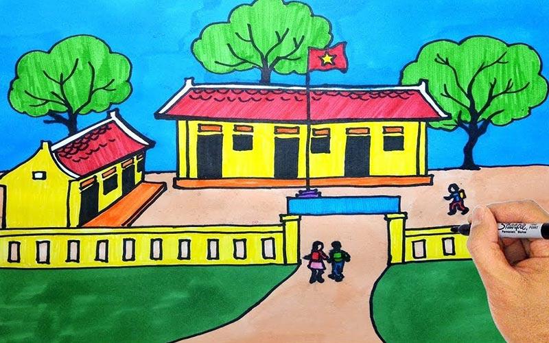 vẽ tranh trường em đơn giản nhất