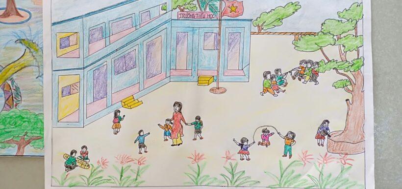 vẽ tranh trường tiểu học của em