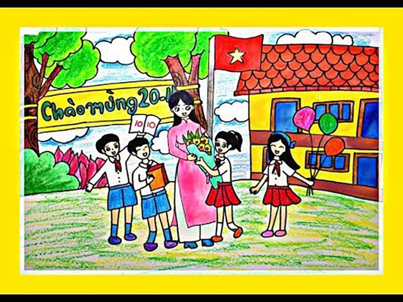 Vẽ tranh về đề tài 20 11 chúc mừng Ngày Nhà Giáo Việt Nam