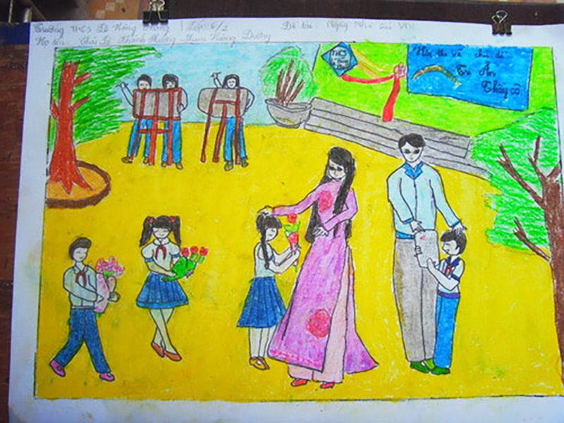 Vẽ tranh về đề tài 20 11 học sinh tặng hoa cô giáo thầy giáo