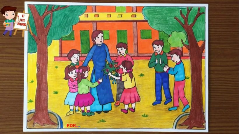Vẽ tranh về đề tài 20 11 Ngày Nhà Giáo Việt Nam