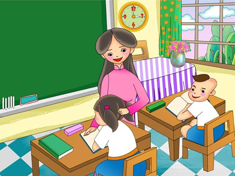 Vẽ tranh về đề tài 20 11 Ngày Nhà Giáo Việt Nam cô giáo và các em học sinh