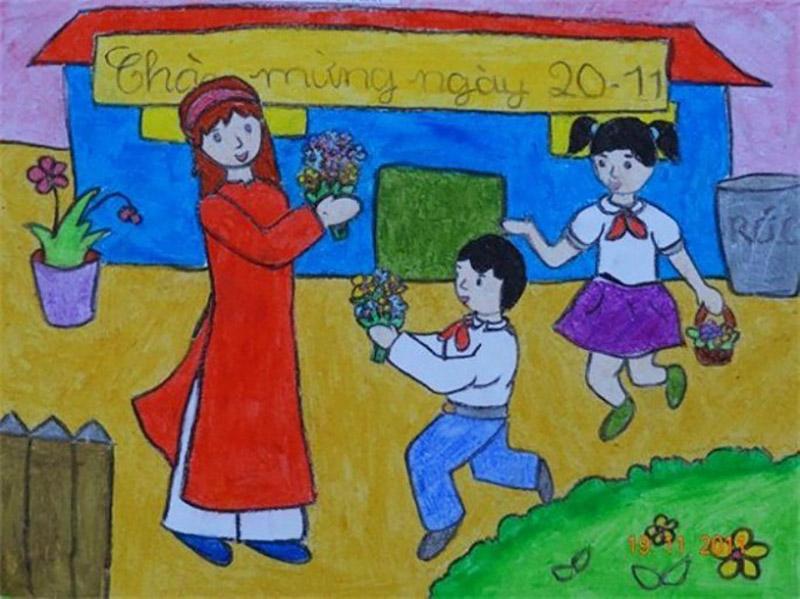Vẽ tranh về đề tài 20 11 Ngày Nhà Giáo Việt Nam đơn giản nhất