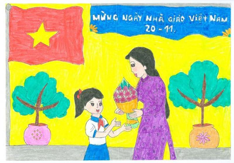 Vẽ tranh về đề tài 20 11 Ngày Nhà Giáo Việt Nam học sinh tặng hoa cô giáo