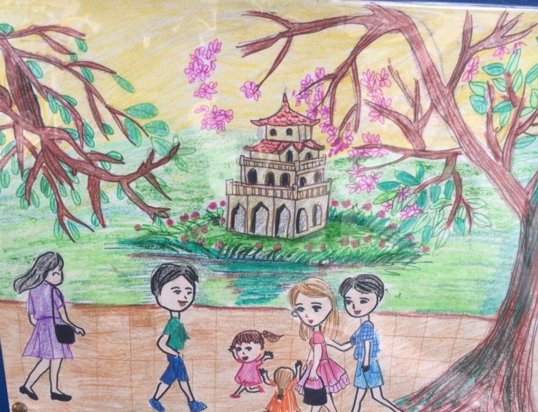 vẽ tranh về hà nội của học sinh