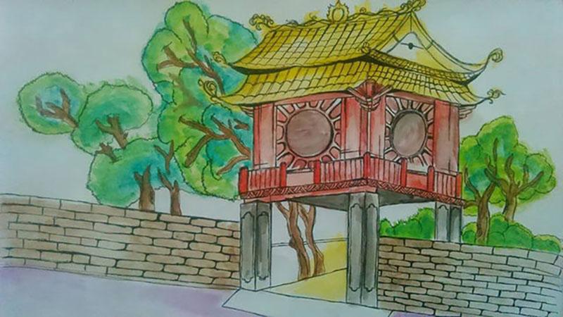 vẽ tranh về hà nội đẹp nhất của học sinh