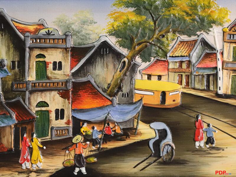 Vẽ tranh về hà nội phố cổ bằng mực sơn dầu