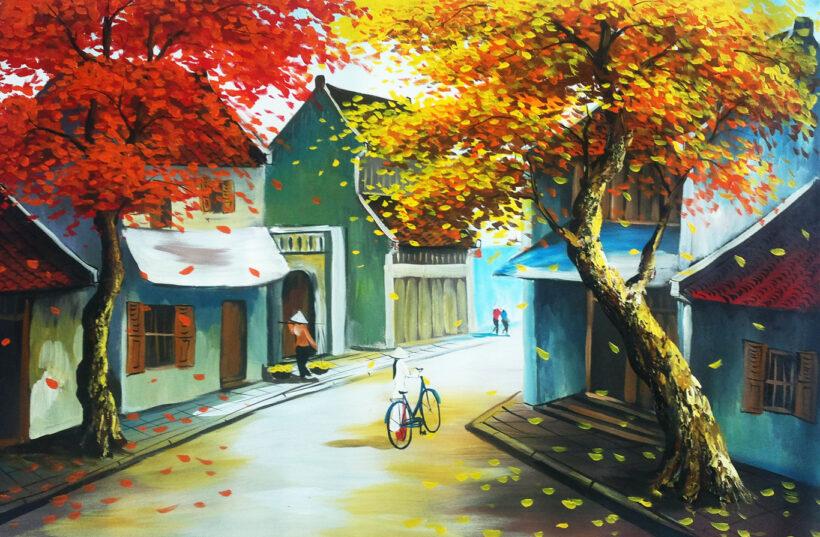 vẽ tranh về hà nội phố cổ mùa thu vàng
