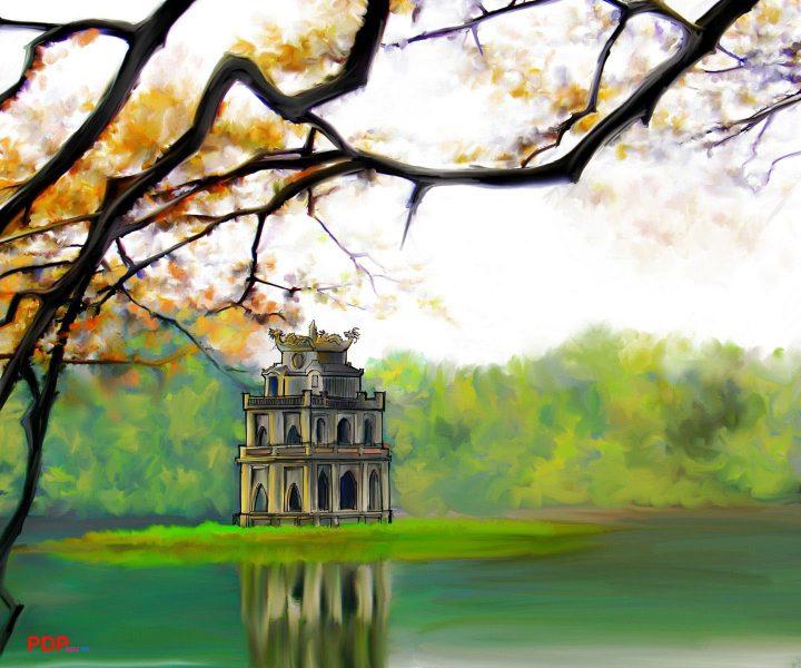 vẽ tranh về hồ Gươm