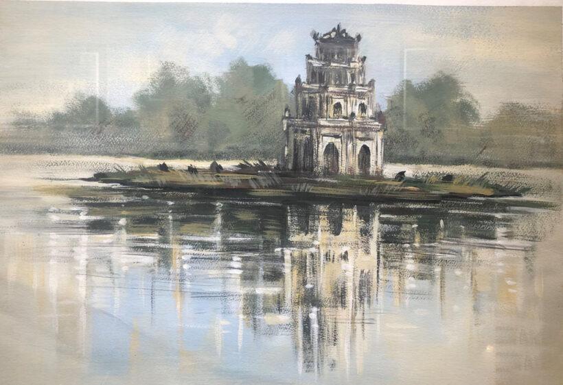 vẽ tranh về hồ Gươm bằng bút chì đen trắng đẹp
