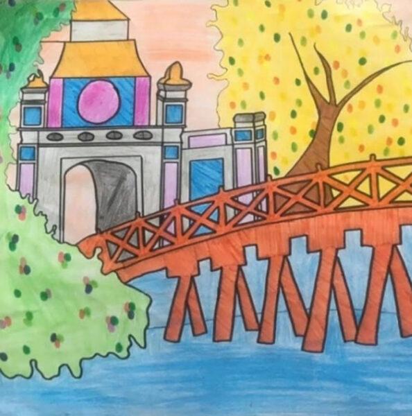 vẽ tranh về hồ Gươm cầu thê húc