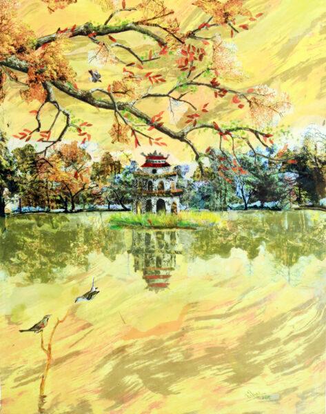 vẽ tranh về hồ Gươm đẹp yên bình nên thơ