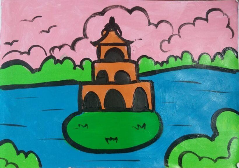 vẽ tranh về hồ Gươm đơn giản của học sinh