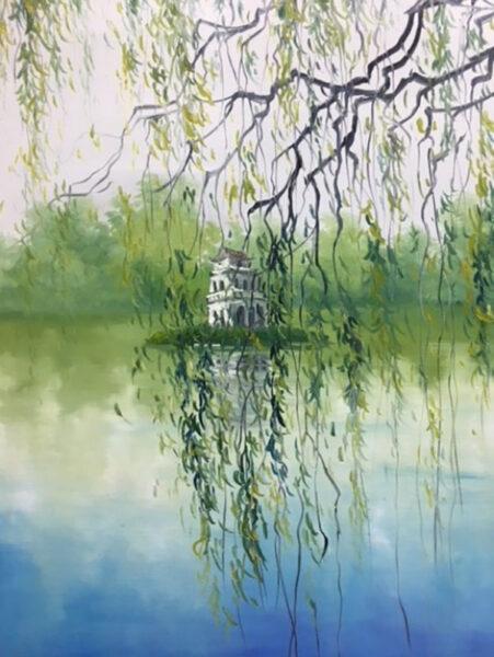 vẽ tranh về hồ Gươm góc nhìn cành liễu rủ