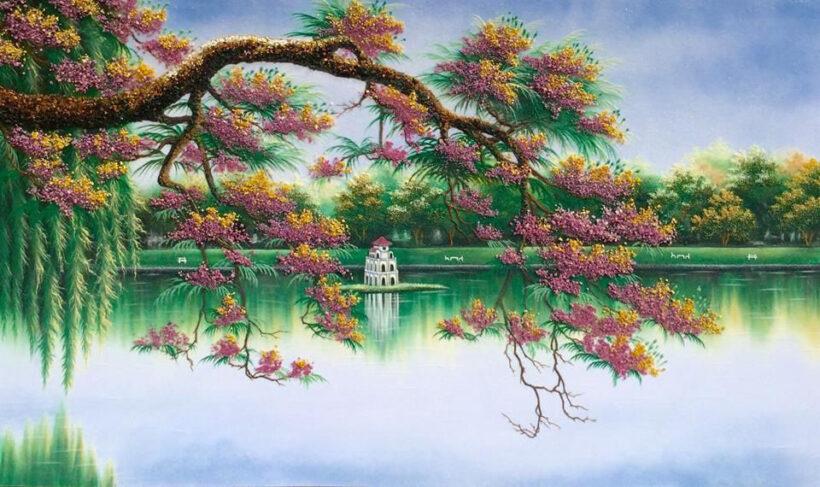 vẽ tranh về hồ Gươm làm tranh treo tường