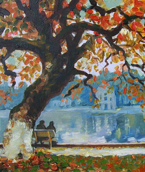 vẽ tranh về hồ Gươm một góc nhìn trong chiều thu ven hồ