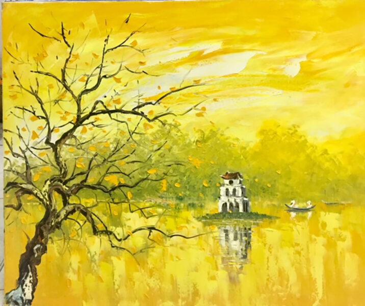 vẽ tranh về hồ Gươm rực rỡ nắng vàng