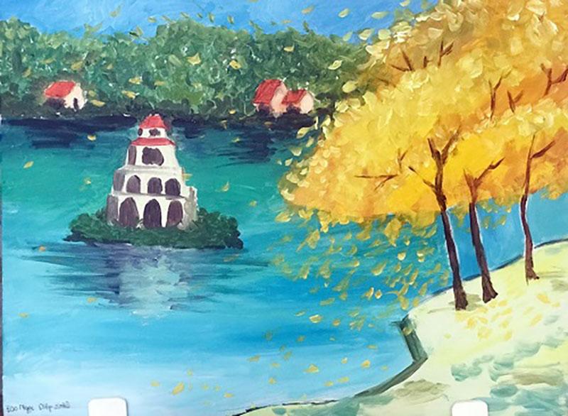 vẽ tranh về hồ gươm tháp rùa của hà nội