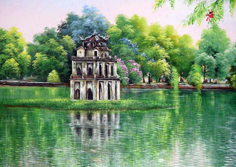 vẽ tranh về hồ Gươm tháp rùa