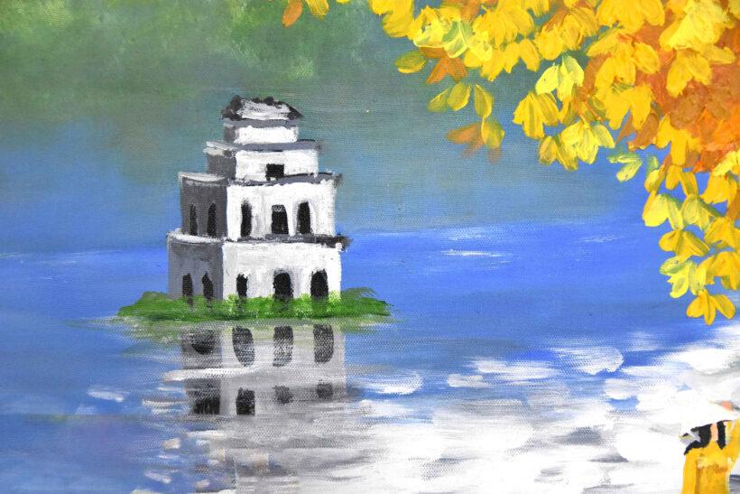 vẽ tranh về hồ Gươm trong chiều thu