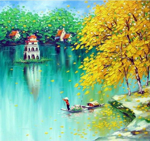 vẽ tranh về hồ Gươm trữ tình nên thơ với người chèo thuyền