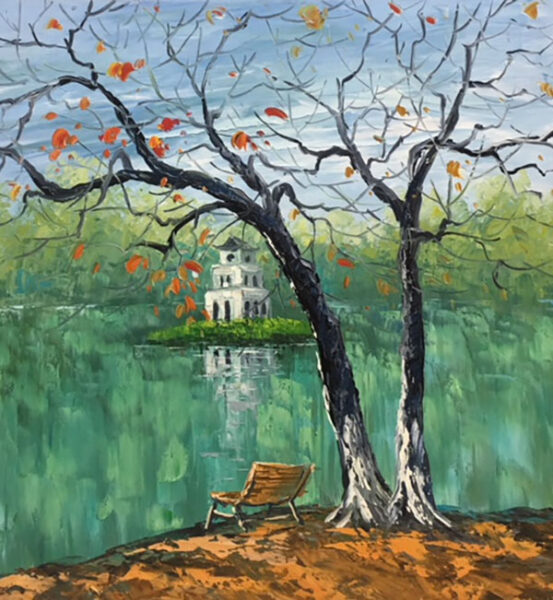 vẽ tranh về hồ Gươm yên bình thơ mộng