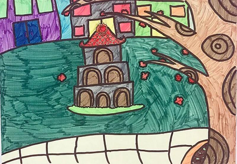 vẽ tranh về tháp rùa của hà nội