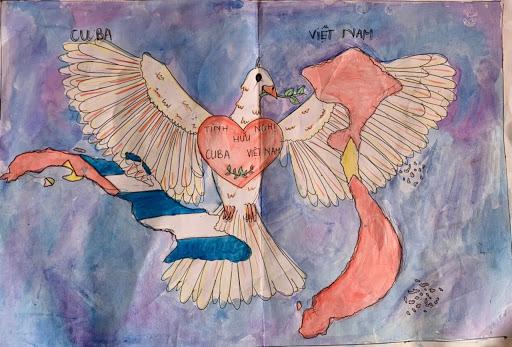 Vẽ tranh Việt Nam - Cuba đơn giản