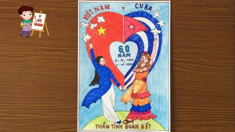 Vẽ tranh Việt Nam - Cuba thắm tình đoàn kết