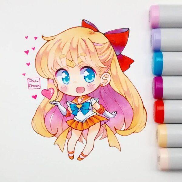 Ảnh anime chibi thả tim cute đẹp