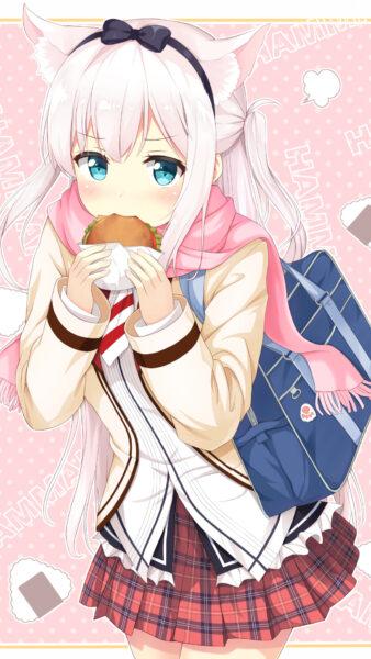 Ảnh anime cute đẹp đang ăn bánh