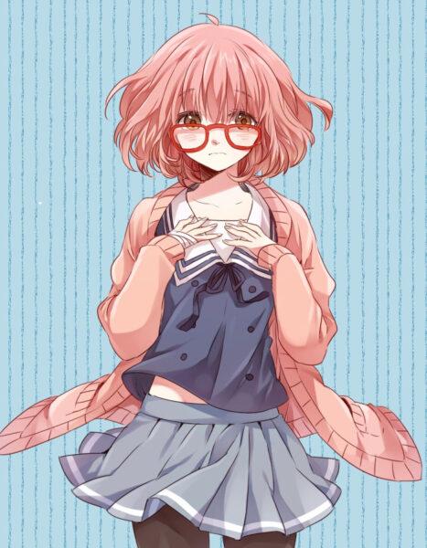 Ảnh anime girl đeo kính tóc ngắn