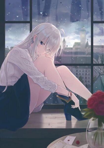 Ảnh anime girl tóc trắng buồn
