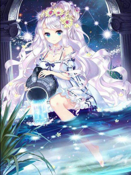 Ảnh anime girl tóc trắng dễ thương