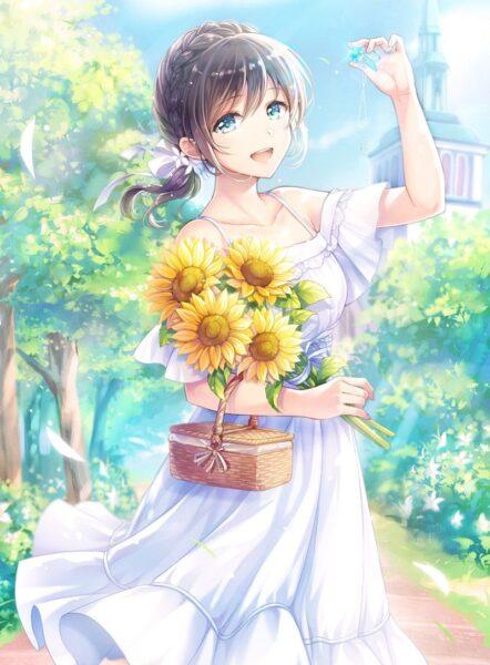 Ảnh anime hoa hướng dương dễ thương quá