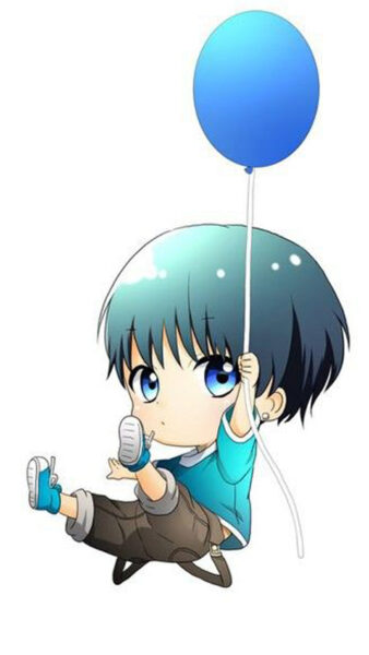 Ảnh anime nam cầm bóng bay cute đẹp