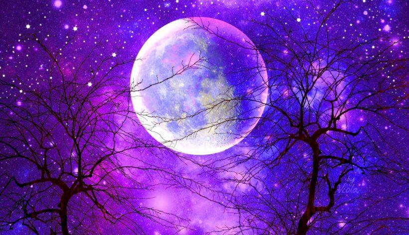 Ảnh bầu trời đêm trăng sao buồn đẹp